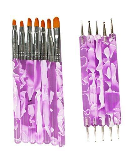 COM-FOUR® Ensemble de pinceaux à ongles 7 pièces + Ensemble de 5 crayons à ongles pour appliquer le gel UV sur le plus beau nail art en violet / blanc (12 parties)