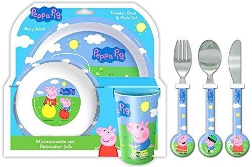 Spearmark Peppa Pig 'Peppa und George' 6-teiliges Abendessen und Besteck | Teller, Schüssel, Tasse, Messer, Gabel und Löffel