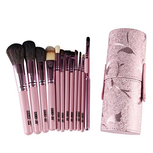 Forme Cylindrique Pinceaux Maquillage 12Pcs + 1 Sac----HUI.HUI Pinceaux Sets Maquillage Brosse Make Up Pour Beauté Premium Fondation Mélange Blush Les LèVres Yeux Visage Poudre Cosmétiques (Rose)