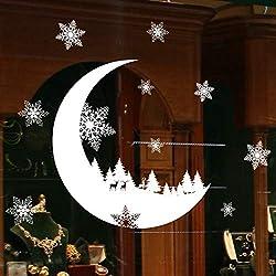 ODJOY-FAN Weihnachten Wandtattoos Fenster Aufkleber Weihnachtsschnee Dekoration Schlafzimmer Mauer Sticker Wallpaper Wall Stickers Wallpaper Decor (25x35cm) (Weiß,1 PC)