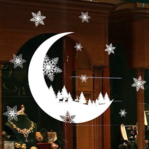Fensterbilder für Weihnachten,Schneeflocken Fensterbild Abnehmbare Fensterdeko Statisch Haftende PVC Aufkleber Winter Dekoration Schnee Weihnachten Schnee Dekoration Wandaufkleber Tapete (Weiß)