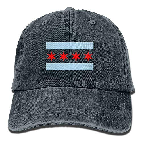 LLALUA Chicago Flag Unisex Adjustable Cowboy Baseball Cap Dad Hat Trucker Hats