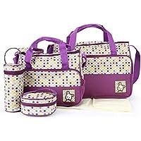 Babyhugs® 5pcs Bebé Pañales Cambiar Pañales Messenger Hospital Maternidad Bolsa Set con diseño de lunares de colores, color morado