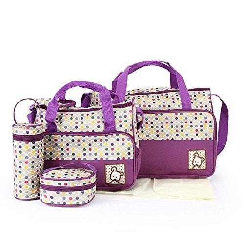 Babyhugs® 5x Baby wickeln Windel Messenger Krankenhaus Mutterschaft Set mit Tasche bunt Polka Dots–lila