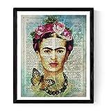 Frida Kahlo Rahmen mit der Definition von Kreativität. Plakat mit Bild von Frida Kahlo mit blauem Hintergrund in A3 Kunstdruck des mythischen Malers Frida Kahlo. Definitionsblatt. Inneneinrichtung. Rahmen zum Rahmen. Papier 250 Gramm hohe Qualität. Dekorieren Sie Ihr Wohnzimmer, Schlafzimmer oder machen Sie das perfekte Geschenk.