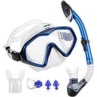 Zacro Schnorchelset Taucherbrille mit Schnorchel Tauchset Taucherbrille mit gehärtetem Anti Beschlagen Gläser Schnorchel Set mit 2 weichen Mundstücke für Erwachsene