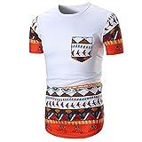 Kanpola Herren T-Shirts Slim Fit Oversize African Bedruckte Kurzarmshirt Casual Shirt