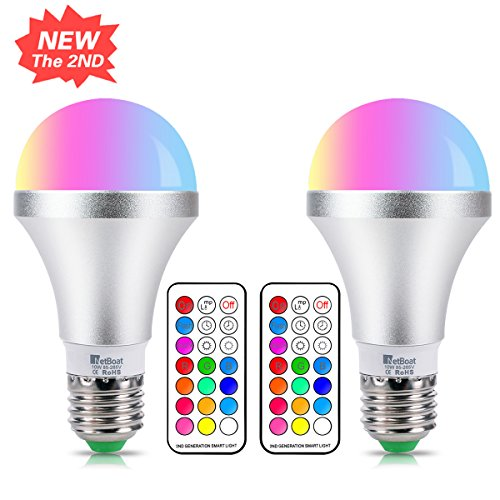 E27 Color Changing Light Bulb Dimmable 10 W RGBW LED Bulb Light with 21 Key Remote Control, Dual Function, 12 Colour choices for home party bar Disco KTV, stage effect light,2-Pack (Custom Light Switch)