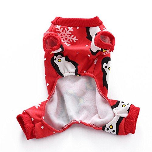 sunwords Hund Weich Weihnachten Kostüm Puppy Pinguin Muster Haustier Kleidung Xmas Geschenk (Kostüme Pinguin Hund)