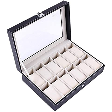 Ohuhu® Caja de reloj ,12-Slot de Cuero Caja / Caja de Reloj / Joyería / Reloj Exhibición de la Joyería de Almacenamiento con Tapa de Cristal y 12 de Mudanzas Almacenamiento Almohadas,