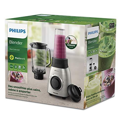 Philips Avance HR3556/00 - Batidora Americana de Vaso, 900 W, Jarra 2L, Cristal, 1 Vaso, Acero Inox
