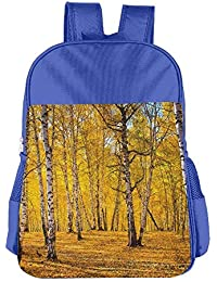 Autumn Birch Forest Golden Yellow Leaves Children School Backpack Carry Bag For Kids Boys Girl