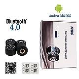 HJJH Mobile Reifendruckkontrollsystem, App Bluetooth 4 Echtzeitüberwachung 4 Reifensensoren, Synchroner Reifendruck und Temperatur Für IOS und Android.