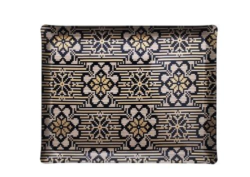 Platex 4046362003 Plateau Décor Inca Acrylique Noir/Doré/Crème 46 x 37 x 3 cm