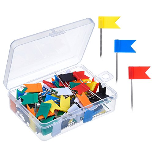 Outus-100-Pieces-Map-Flag-Push-Pins-Tacks-Assorted-7-Colors