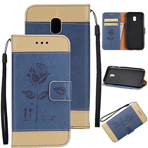 EKINHUI Case Cover Gemischte Farben Rose Blume matt Premium PU Leder Brieftasche Stand Case Cover mit Lanyard & Card Slots für Samsung Galaxy J730 ( Color : Gold ) Blue