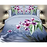 155x200 3D Bettwäsche 3tlg Bettwäscheset Blume Blumen-Muster Bettbezüge Microfaser Bettwäschegarnituren FSH 431