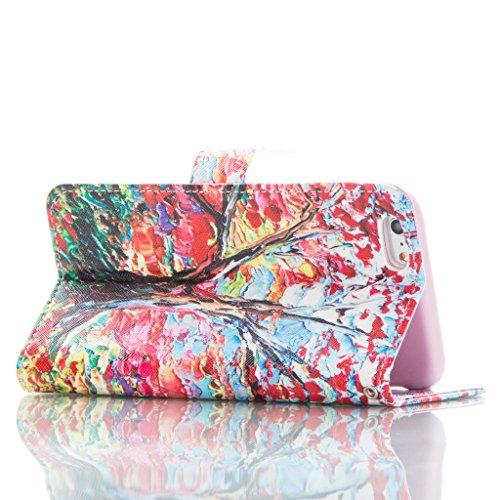 JGNTJLS Elegante Custodia a portafoglio di qualità, per iPhone 5C, con protezione per lo schermo in vetro temperato, in Pelle PU, con inserti per carte di credito, Ultra Sottile, dimensioni: 10,16 cm, Pink,Tree#2