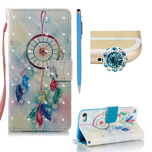 od Touch 6 Fall, SKYXD Luxus 3D Muster Flip Magnetic Verschluss PU Leder Brieftasche Abdeckung Fall für iPod Touch 5/iPod Touch 6 Shockproof Bookstyle Shell Stoßstange + 1xStylus + 1xDust Plug, Dream Catcher (Dream Catcher Ipod Touch 5 Fall)