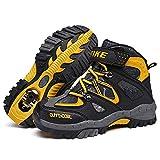 Botas de Senderismo niños Zapatos de Senderismo de Invierno Forro de Nieve Piel Caliente Botas de montaña al Aire Libre Negro Azul 34 EU