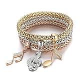 Femmes Charme Bracelet Stretch Perle Bracelet Bracelet Musique Notes Pendentif Amitié Bracelet Bracelet Manchette pour les Filles avec Cristal (Mélanger la couleur)