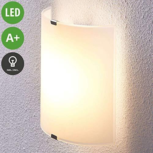 Lampenwelt LED Wandleuchte, Wandlampe Innen 'Helmi' (Modern) in Weiß aus Glas u.a. für Wohnzimmer & Esszimmer (1 flammig, A+, inkl. Leuchtmittel) - Wandstrahler, Wandbeleuchtung Schlafzimmer / -