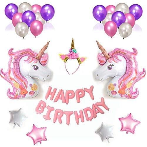 Qivange Einhorn Geburtstagsdeko Einhorn Luftballons, Happy Birthday Ballon Set mit Einhorn Folienballon Latex Konfetti Luftballons Einhorn Mottopartys für Mädchen(Rosa Thema)