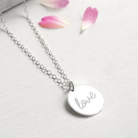 Personalised Sterling Silver Love Disc Pendant Necklace