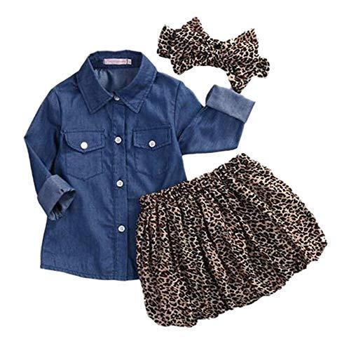 Anywow Kleinkind Mädchen 3pcs Kleidung Set, Säugling Baby Mädchen Denim Langarm Shirt Top + Leopard Tutu Rock Overlay Kleid + Stirnband 0-5 Jahre