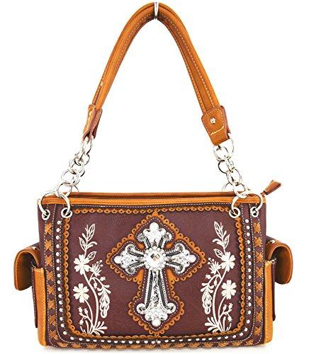 Blancho Biancheria da letto delle donne [Fiore] borsa dellunità di elaborazione di cuoio di modo elegante Borsa Testa di Moro Handbag-DarkMarrone