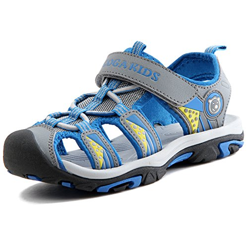 Sommer Sandalen Jungen Ultraleicht Geschlossen Trekking Wandern Schuhe Mädchen Unisex Kinder Outdoor Sport Strand mit Klettverschluss Grau 32 EU