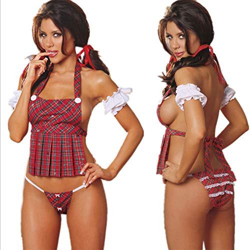 Femme Costumes Vêtement de nuit Dos Nu, Tartan/Licou