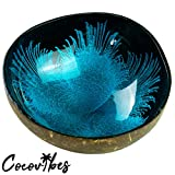 Cocovibes Kokosnuss Schale   Buddha Bowl   Deko Schüssel - Blau lackiert Handgemacht und Umweltfreundlich