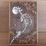 Skeleton Human Art - Wood Print Laser Engraved, Dark Gothic Woodcut Gift, Hand Painted - Unique Design by Engraver's Dungeon 29 x 19 cm
