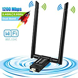 sumgott Adaptateur USB WiFi, Clé WiFi Dongle 1200Mbps Double Bande(2.4G/300Mbps+5G/867Mbps) Double 5dBi Réseau Antennes pour PC Windows XP/Vista/7/8/10