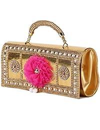 Prasiddhi Pink Flower, Golden Ladies Handbag Purse Clutch Ethnic Sling Side Bag Gift For Women