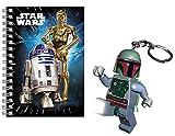2in1-SET Lego Star Wars Boba Fett Schlüsselanhänger mit LED Licht (Größe der Figur 7,5cm) + Notizblock