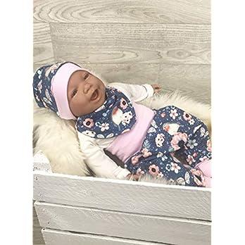 Baby Set 56 62 68 74 Hose, Mütze und Dreieckstuch, Erstausstattung, new born set,Mädchen Pumphose, Blumen grau rosa