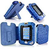 Gadget Giant ® VTech InnoTab 3 Blue Leather Wallet Case Cover Stand Protector - Cute Fun Kiddy Design