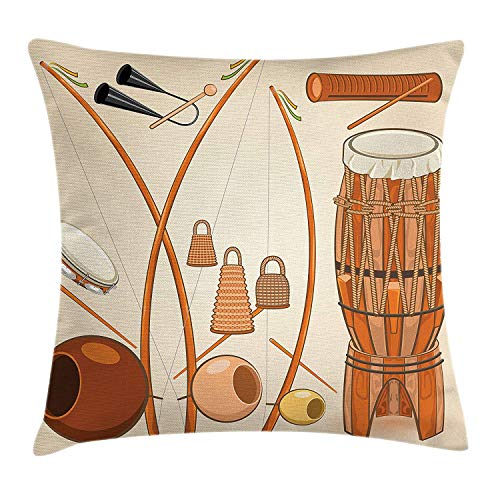 ZHIZIQIU Music Throw Pillow Cushion Cover by, Brazilian Capoeira Instruments Djembe Bongo Percussion Rhythm Tribal Culture Ritual, Decorative Square Accent Pillow Case, 18 X 18 Inches, Multicolor
