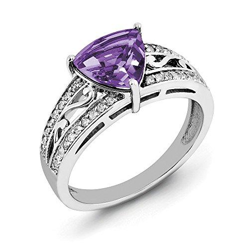 Amethyst Sterling Diamant Silber Ring &