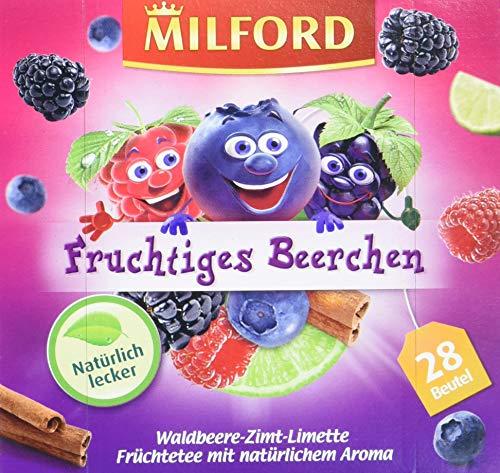 Milford Fruchtiges Beerchen Waldbeere-Zimt-Limette, 28 Beutel, 6er Pack (6 x 63 g)