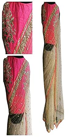 Sunshine Fashion Women's Georgette Saree with Blouse Piece - SUNSA687-FB_Beige_Free Size