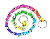 SLZZ Hundehalsband/Würgehalsband, Edelstahl, mit regenbogenfarbigem Nylon-Gurtband–strapazierfähige, rutschfeste Martingale-Halsbänder für kleine, mittelgroße, große Hunde, Gassigehen, Training