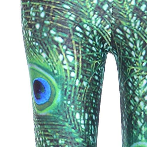 Bigood Femme Leggings Sexy Collant Elastique de Moulante Slimmer Paon