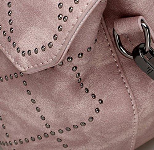 Koreanische Version Mode Damen Hand Nieten Diagonale Schulter Damen Tasche,Pink Black