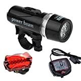 #10: Futaba Bicycle Speedometer ,5 LED Mountain Cycling Head Light and Bicycle Rear Light Lamp Combo