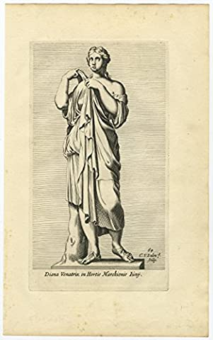 Antique Print-STATUE-ROME-DIANA-GODDESS-ROMAN MYTHOLOGY-Perrier-Van Dalen-1660