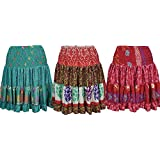 Mogul Interior Womens Summer Beach Silk Skirt Flared Margot Recycled Sari Tiered Knee Length Skirts Wholesale Set Of 3