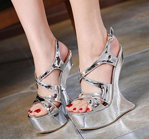 GLTER Femmes Talons hauts Pompes Sandales d'été Haut talon en forme de bureau imperméable Charming Nightclub Chaussures Silver